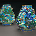 A rare pair of large cloisonné enamel 'hundred deer' vases, hu, jiaqing period (1796-1820)