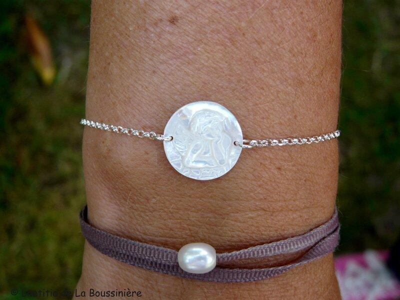 Bracelet ange en nacre (sur chaîne argent massif)
