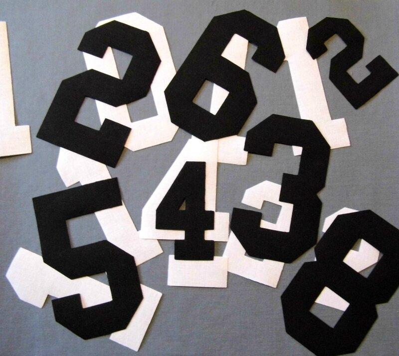 Chiffres coton noir ou blanc