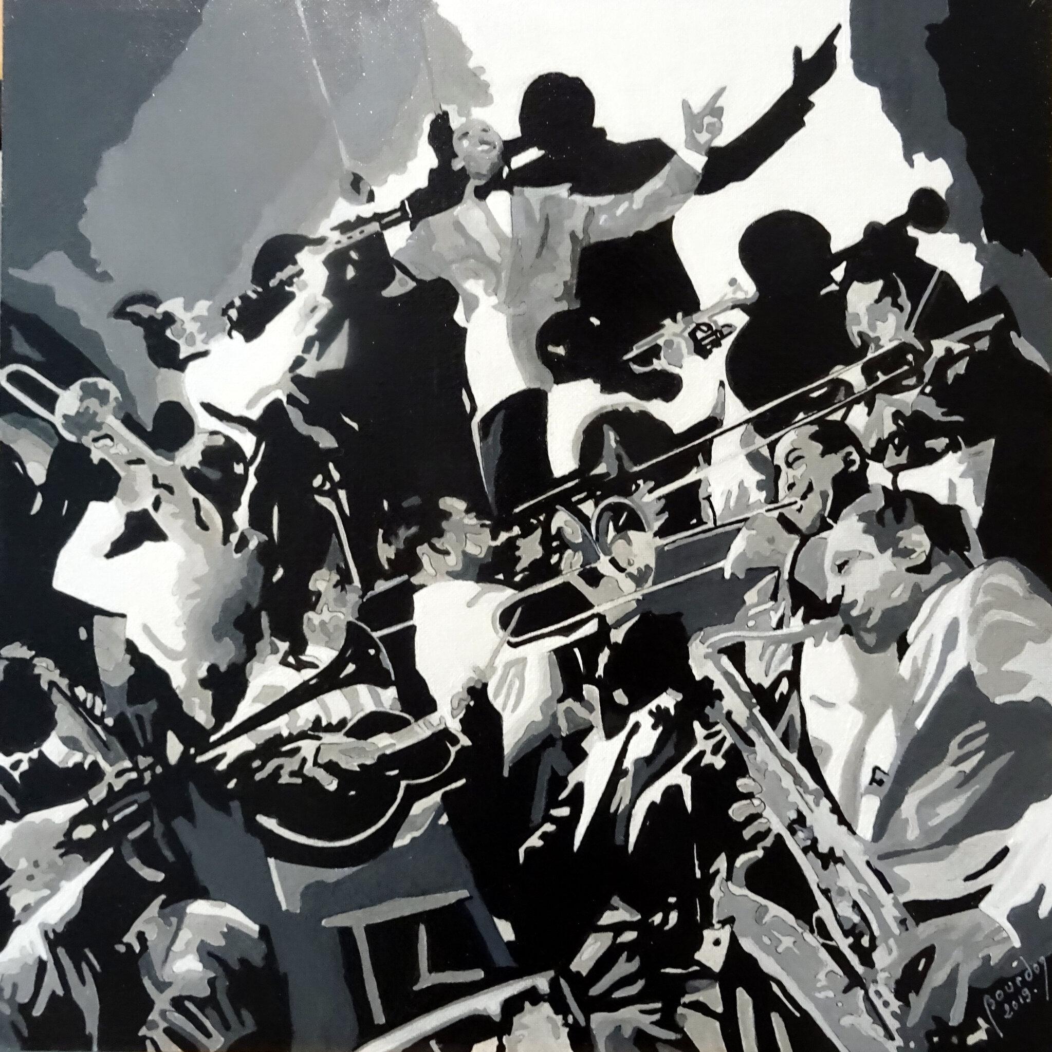 Orchestre, huile sur panneau toilé, 30x30cm