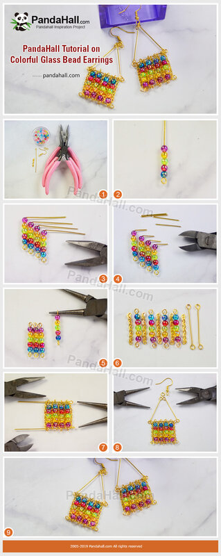 5-PandaHall Tutorial on Colorful Glass Bead Earrings