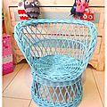 fauteuil osier enfant bleu