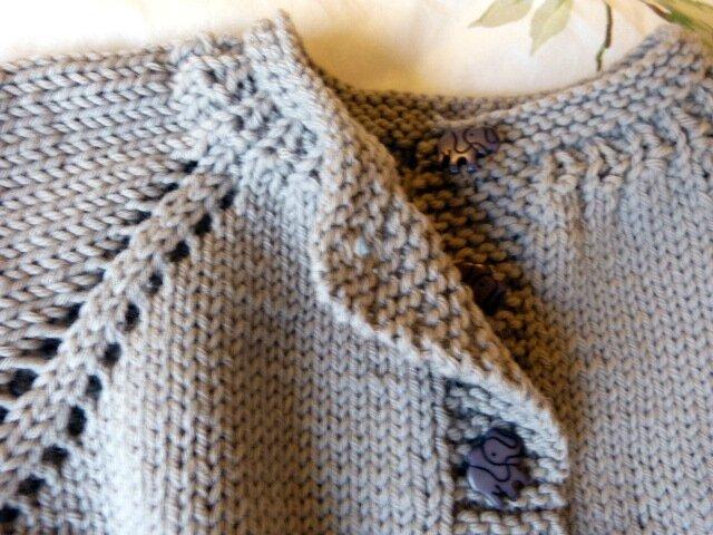 Initiation du raglan sur le rang 13   après les 6 mailles de la bordure  toujours au point mousse, tricoter 11 mailles (demi-devant), 1 jeté, ... 92da22c00db