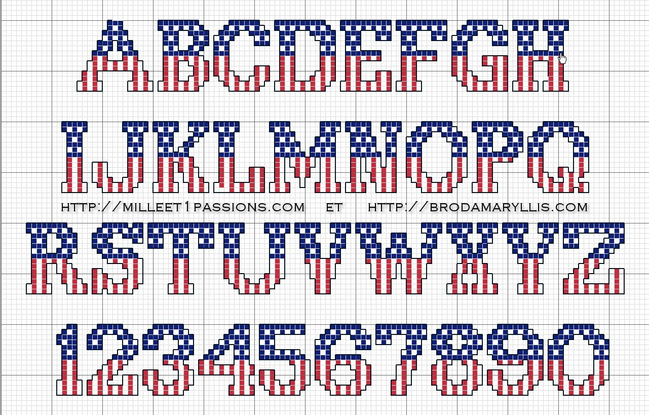 "Cadeau : grille de point de croix ""alphabet USA"" - Brodamaryllis"