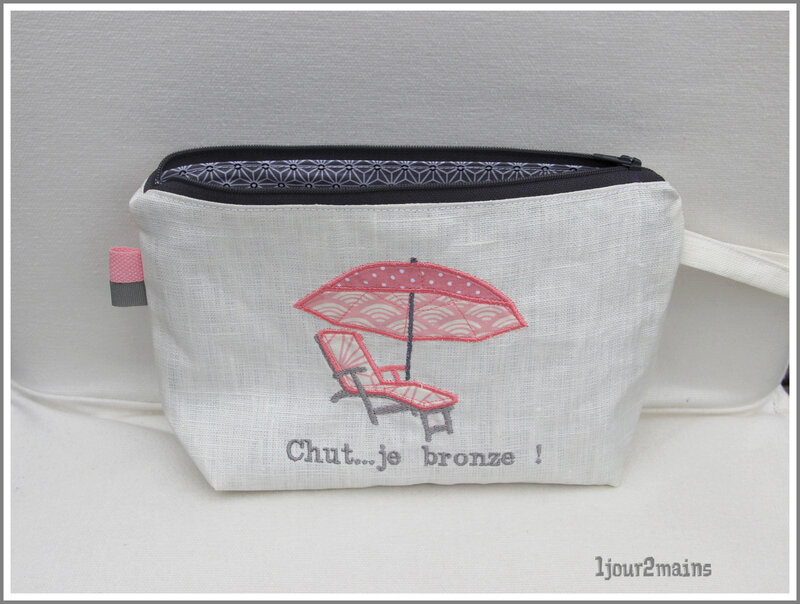 trousse plage chut je bronze rose