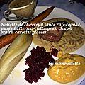 Noisette de chevreuil, sauce cognac-café, purée butternut-châtaigne, chicon braisé et carotte glacée