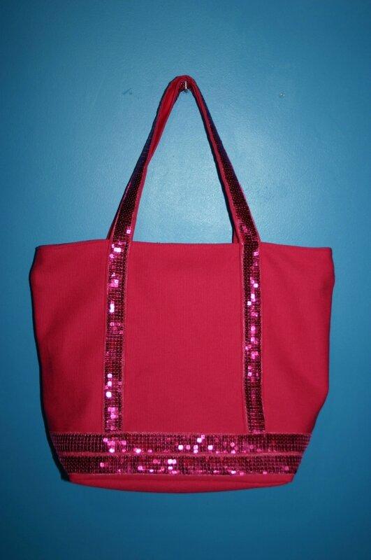 sac à paillettes rose 010