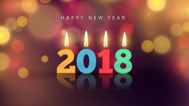 Happy_New_Year_2018_colorful_candles_flame_3840x2160