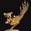 A gold filigree 'phoenix' ornament for an imperial concubine summer court hat, qing dynasty, 18th century