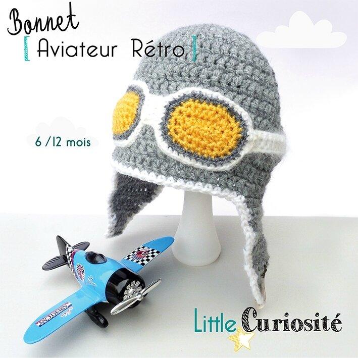 Bonnet Bébé au Crochet - 6-12 mois - Bonnet Pilote Aviateur Rétro girs perle et orangé - Modèle Original - ©Little Curiosité