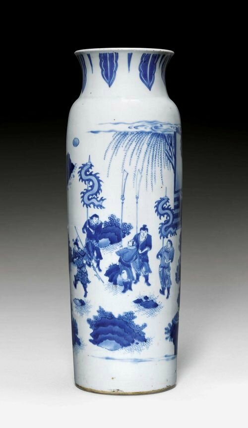 A blue and white cylindrical vase with figural scenes