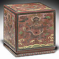 A rare engraved polychrome-lacquered square seal box, 17th-18th century