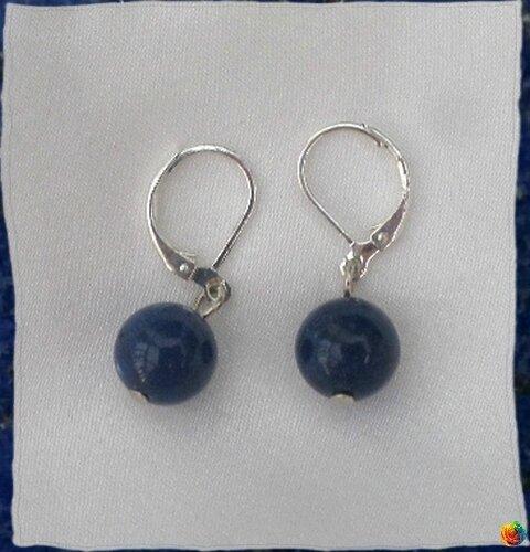 Boucles d'Oreilles Alix Perle Lapis Lazuli 8 mm Argent Du Tibet