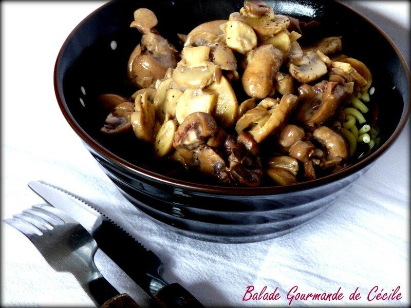 rognon de veau aux échalotes et champignons, sauce crème et moutarde