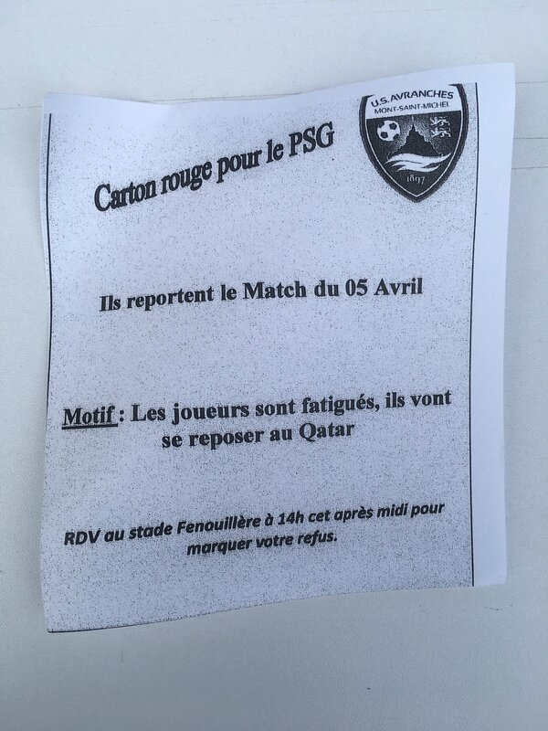 report du match Avranches PSG Coupe de France 1er avril 2017 flyers