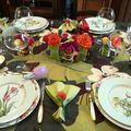 TABLE FLEURS OISEAUX