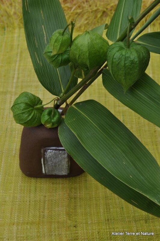 Bambou et lanterne verte soliflore terre brute et plaque émaillée