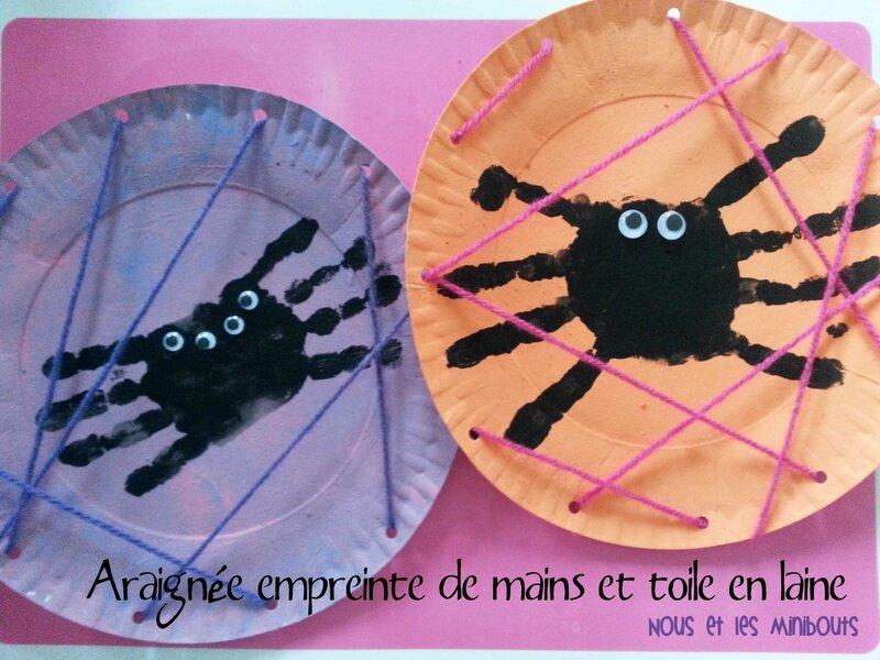 araignée empreinte de mains et toile en laine Nous et les minibouts