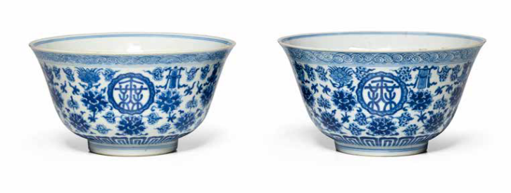 A pair of blue and white 'auspicious objects' bowls, Daoguang marks and of the period (1821-1850)