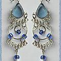 Boucles D'Oreilles Lynda Verre Murano Bleu Ciel Argent D'Alpaca Artisanat Pérou -