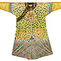 An imperial embroidered yellow silk twelve-symbol dragon robe, jifu, qing dynasty, guangxu period (1875-1908)
