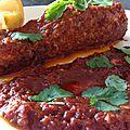 Saumon, sauce au chraimeh (sauce rouge pleine de saveurs)