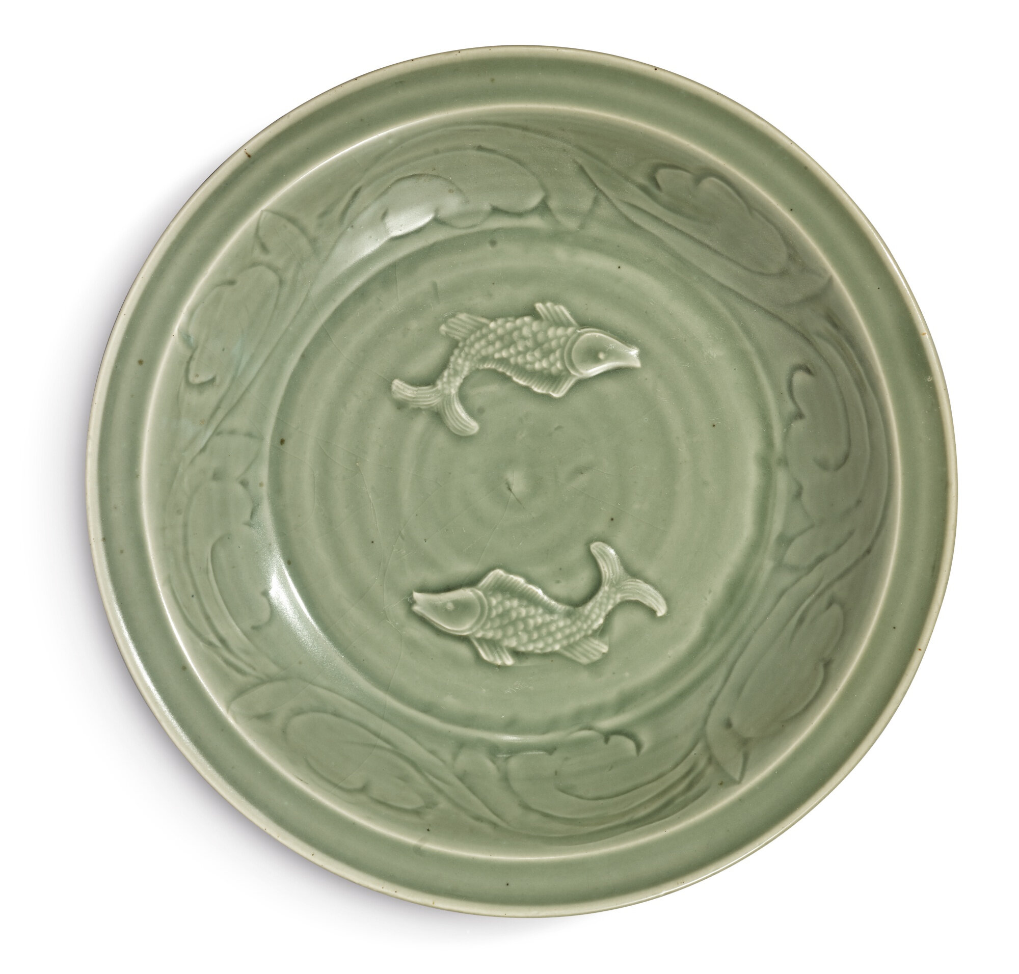 A large celadon-glazed 'Longquan' 'Twin fish' charger, Yuan dynasty (1279-1368)