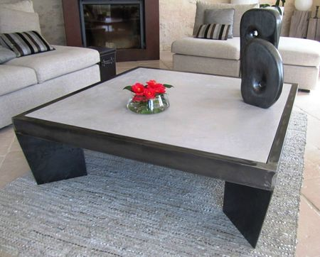 TABLE DE SALON EN BETON CIRE GRIS SOURIS