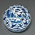 A blue and white circular box and cover, Jiajing six-character mark in underglaze blue within a double circle and of the period (1522-1566)