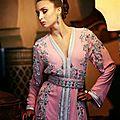 Vente caftan marocain rose perlé