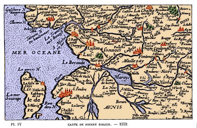 Voyage à l'origine du marais Poitevin - Dessèchement des marais aux XIIe et XIIIe siècles La Beraude sur la carte du Poitou par Pierre Rogier en 1579