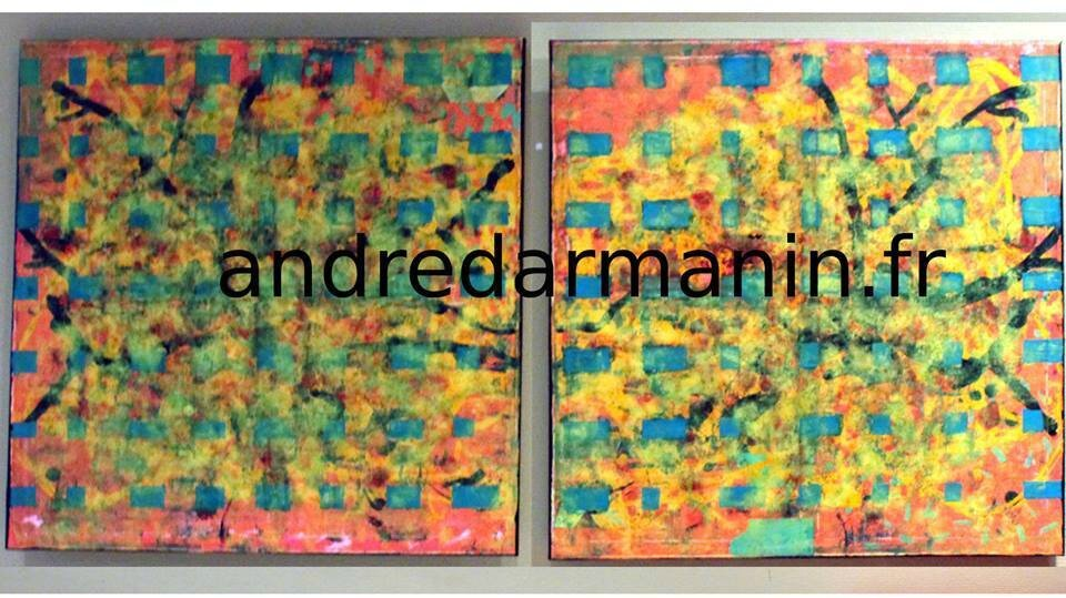 PEINTURE - ANDRÉW - ABSTRACT Diptyque (GRAND FORMAT)