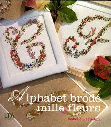 Alphabet brodé mille fleurs