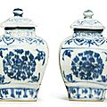 A pair of blue and white 'Floral Medallion' jars and covers, 16th-17th century