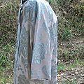 robe rideau broché gris-rose