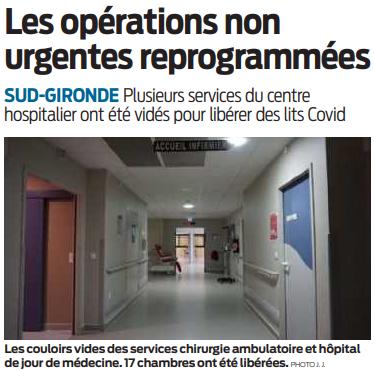 2020 11 14 SO Les opérations non urgentes reprogrammées