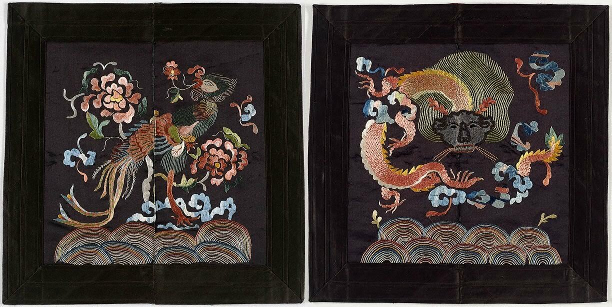 Pair of phoenix and dragon badges, Viet Nam, 20th century