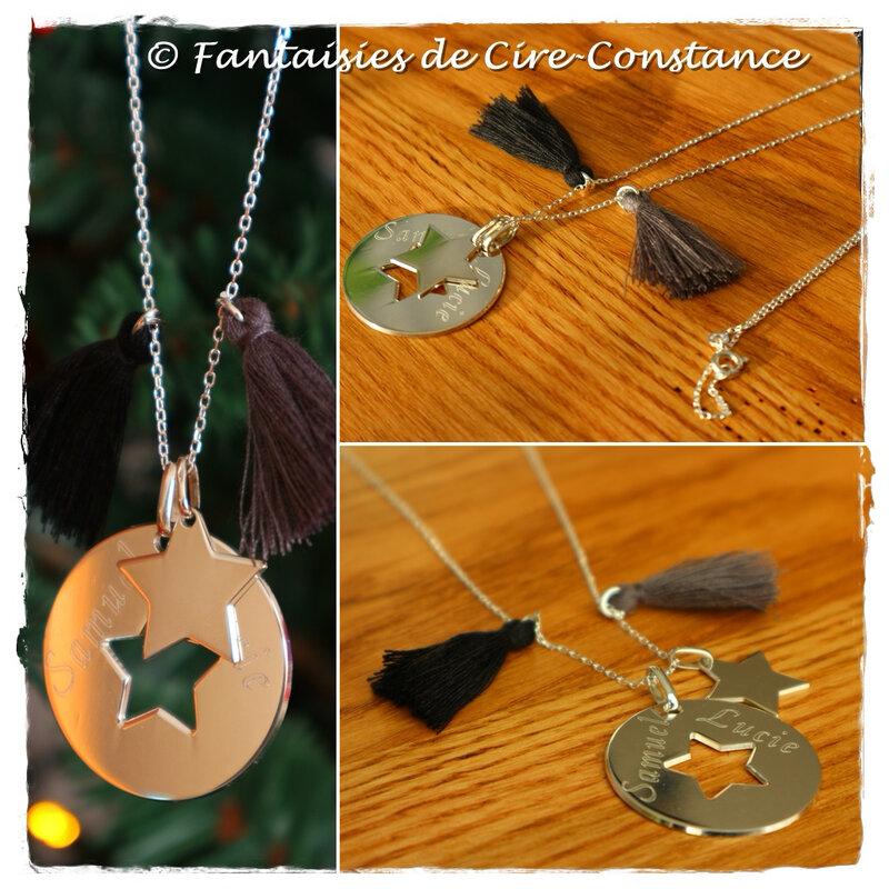 Collier étoiles ajourée gravée pompons