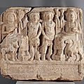 Relief dedicated by ba'alay to bel, baalshamin, yarhibôl, and aglibôl, palmyrene, anonymous maker, dated january 121 ce