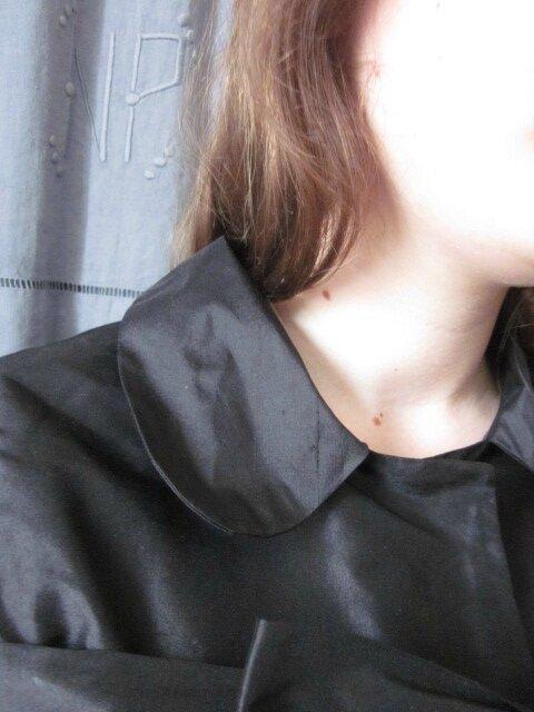 Manteau AGLAE court en soie noire - taille 36 (22)
