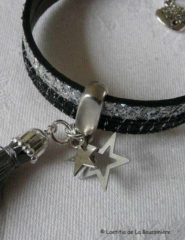 Fête des mères (bracelet Bicolore cuir argent et noir)