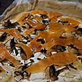 Pizza chèvre saumon fumé et champignons