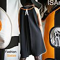 Robe trapèze Bicolore noire blanche Orange / imprimé fashion Vintage