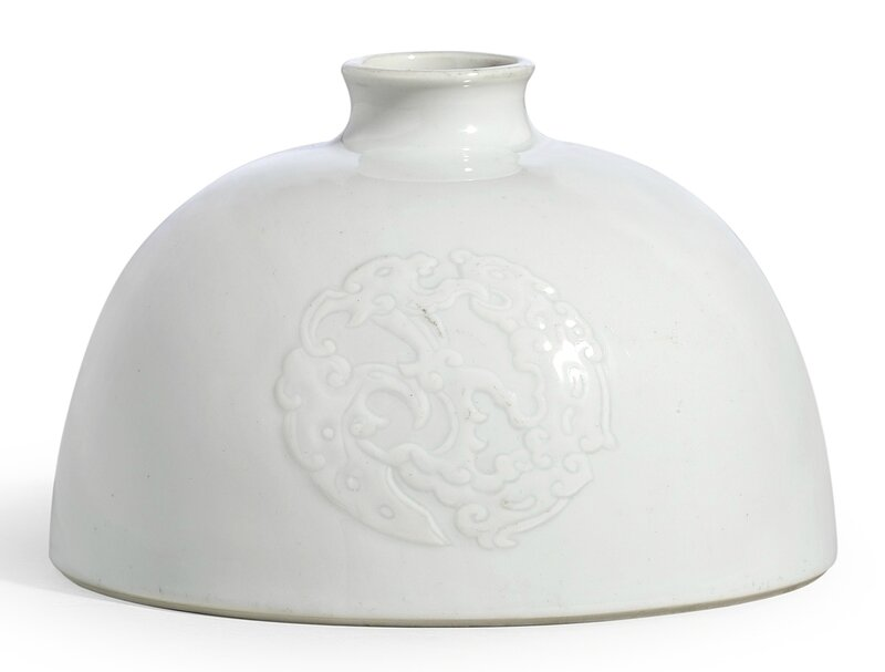 A rare white-glazed beehive waterpot, Mark and period of Kangxi (1662-1722