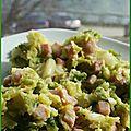 Enbeurrée de chou vert au jambon ou à la chaire à saucisse