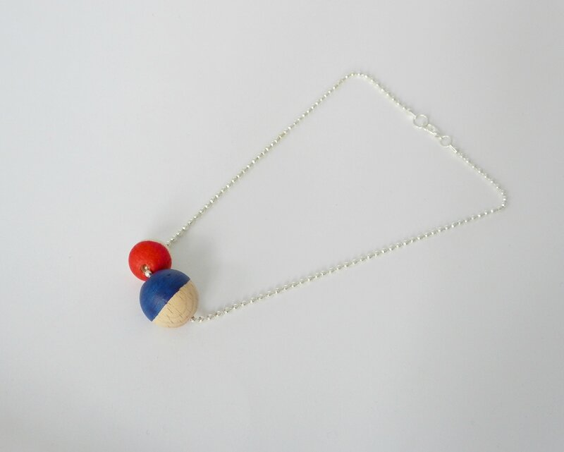 collier bleu rouge