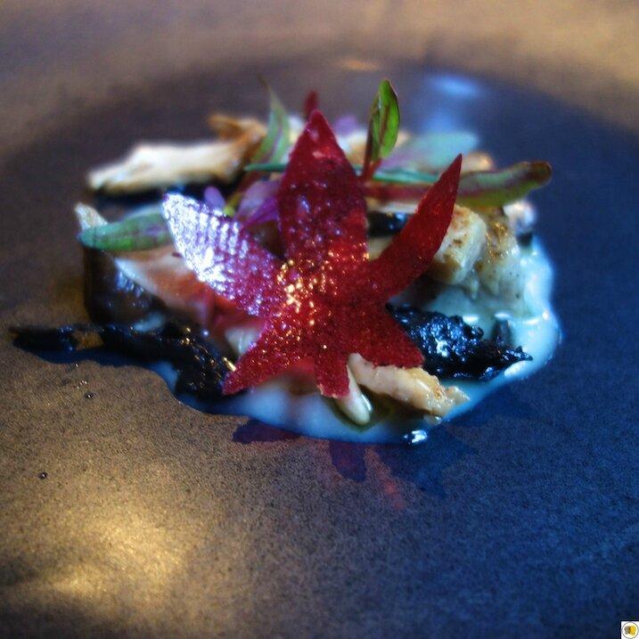 Automne, champignons, coing, porc Duroc