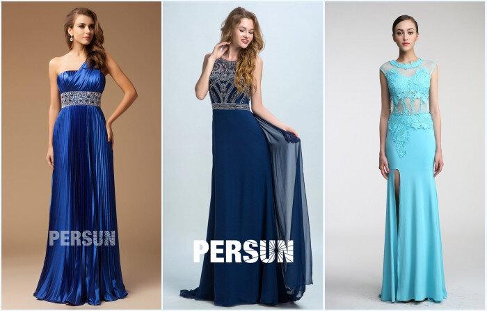 Robes de soirée longues bleues