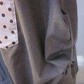 Robe CELESTE en lin taupe - version 5 poches multi-tissus roses - taille 52 (6)