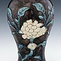 Stoneware meiping with 'fahua'-type decoration, Ming dynasty, circa 1522-1600